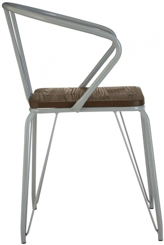 District Grey Metal and Elm Wood Armchair
