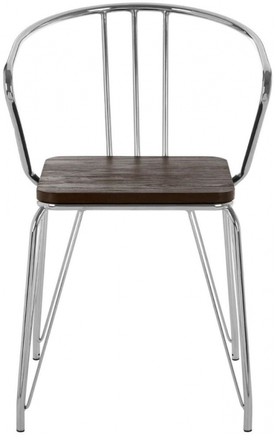 District Armchair - Chrome Metal and Elm Wood