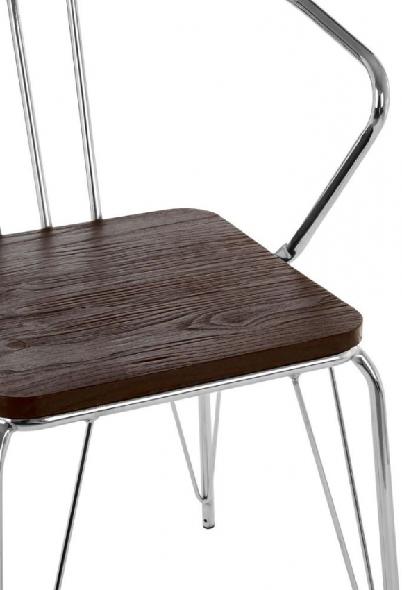 District Chrome Metal and Elm Wood Armchair