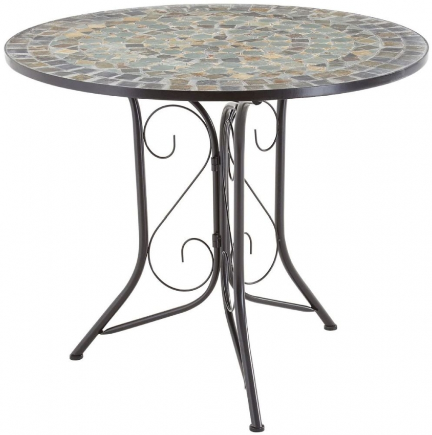 Amalfi Blue and Stone Mosaic Dining Set with 4 Chairs - 90cm