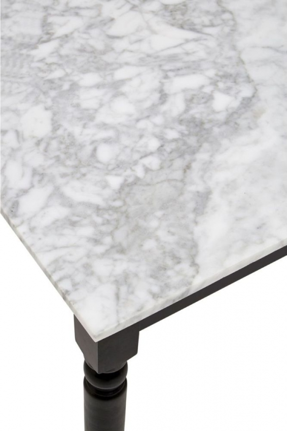 Henley Side Table - White Marble and Black Metal