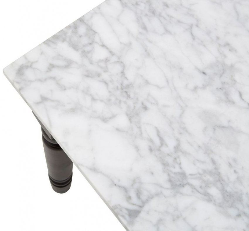 Henley Coffee Table - White Marble and Black Metal