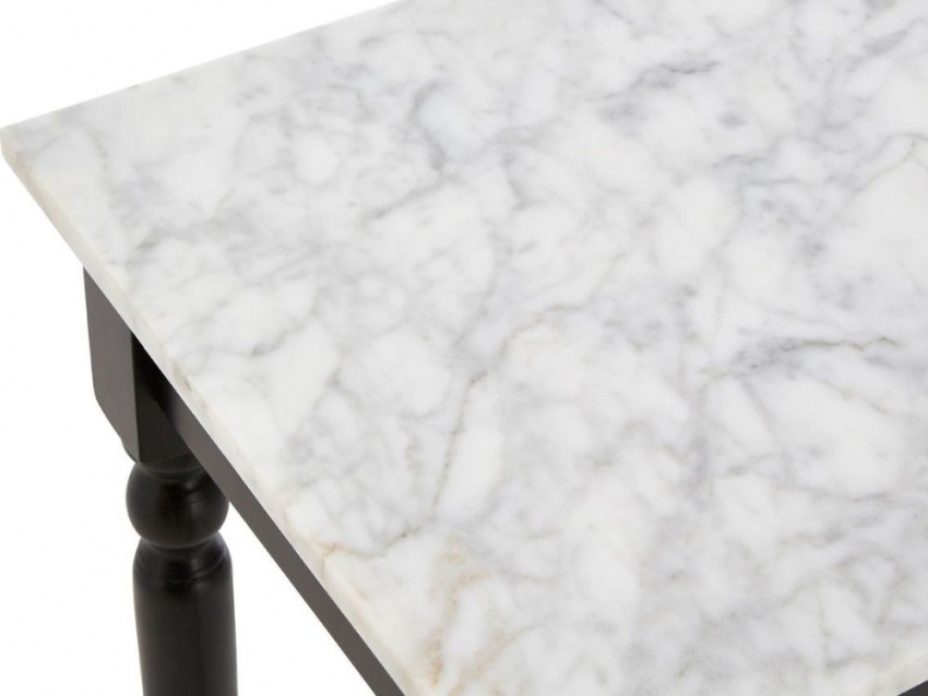 Henley Console Table - White Marble and Black Metal