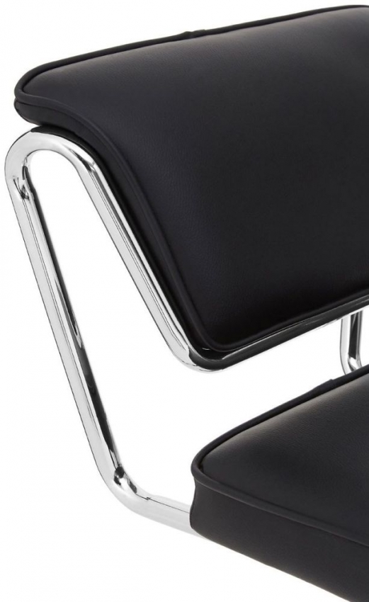 Soft Black Bar Chair (Pair) - Faux Leather and Chrome