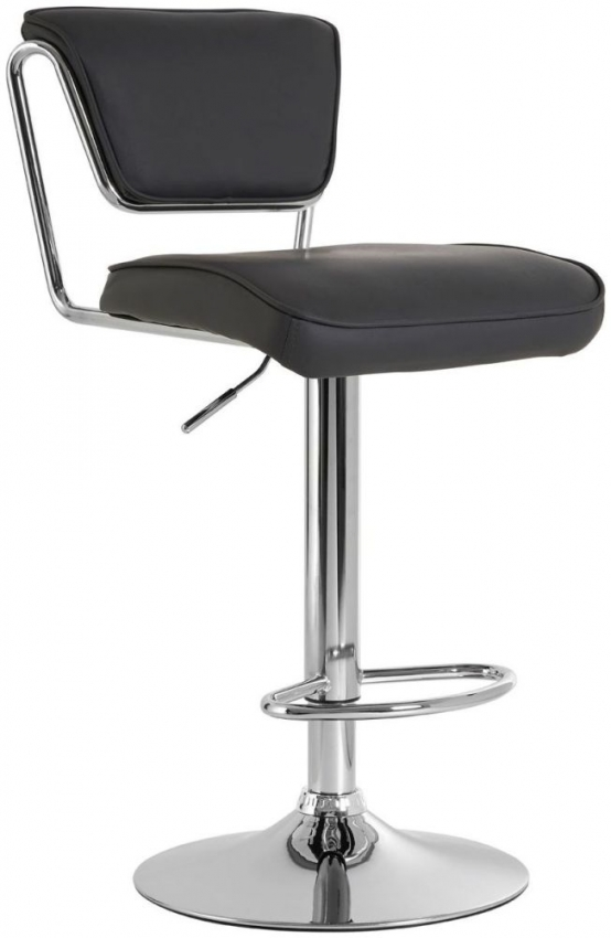 Soft Grey Bar Chair (Pair) - Faux Leather and Chrome