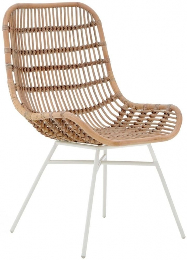 Lagom Natural Rattan Curved Chair with White Wash Iron Legs