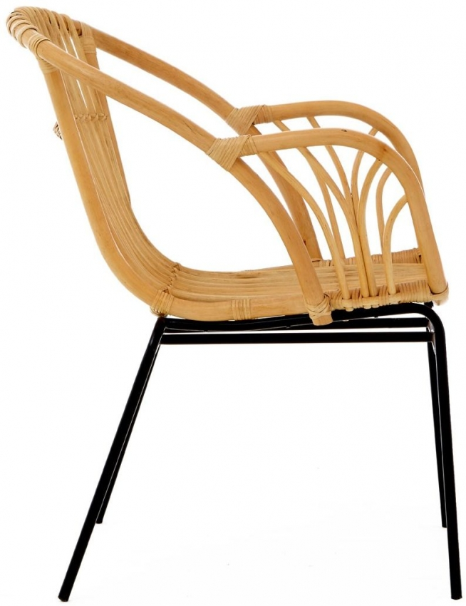 Lagom Natural Rattan Armchair with Iron Legs