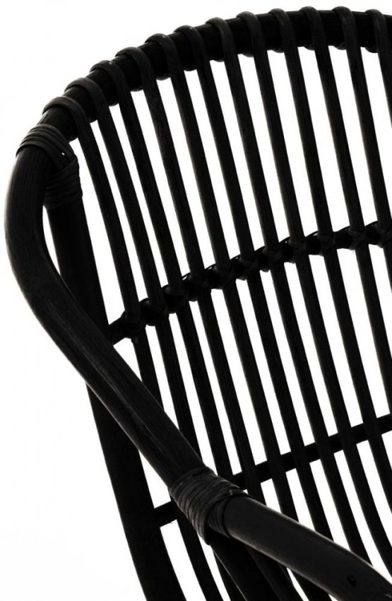 Lagom Black Rattan Armchair with Iron Legs