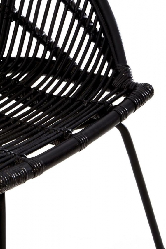 Lagom Black Rattan Chair with Angled Iron Legs