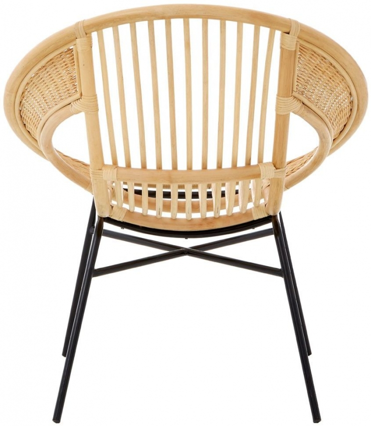 Lagom Natural Rattan Chair with Black Iron Legs