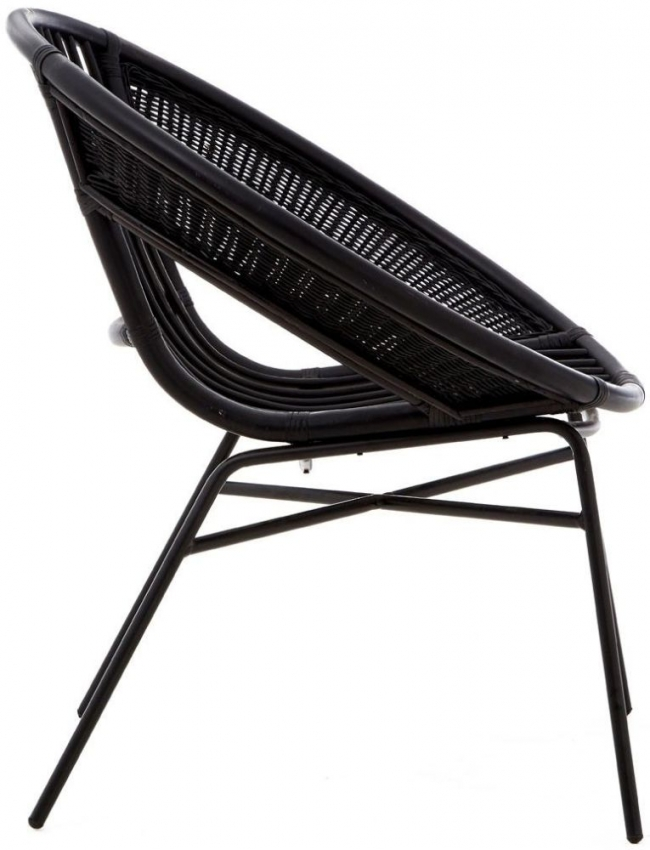 Lagom Black Rattan Chair with Iron Legs