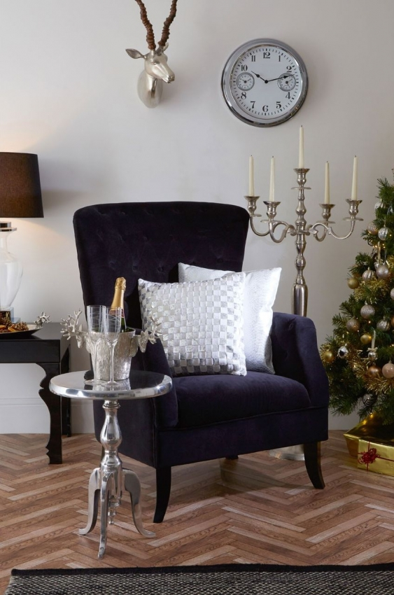 Mayfair Black Linen Velvet Armchair