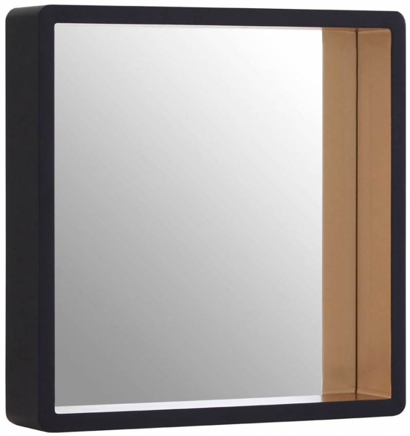 Gold Edge and Black Small Square Wall Mirror