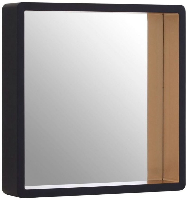 Gold Edge and Black Square Wall Mirror - 44cm x 44cm