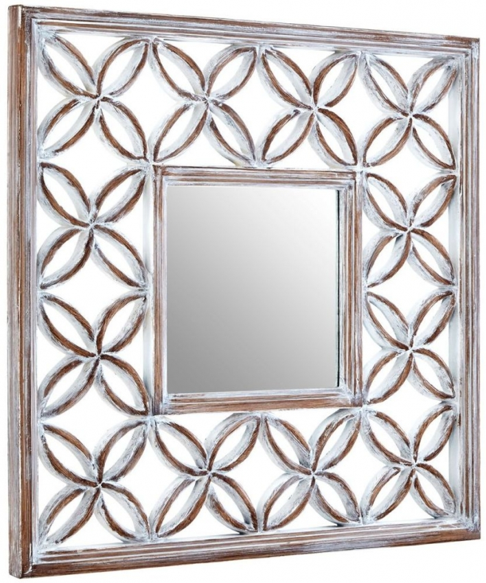 Lattice Antique White Frame Square Wall Mirror