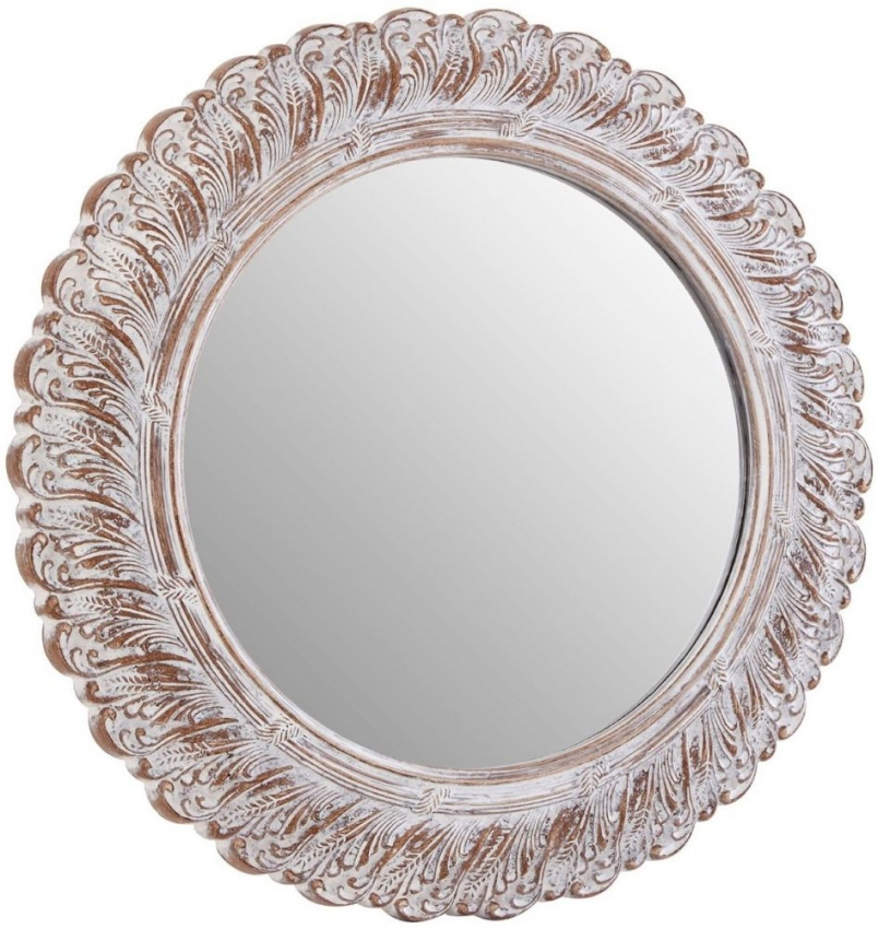 Acanthus Leaf Antique Grey Round Wall Mirror - 62cm x 62cm