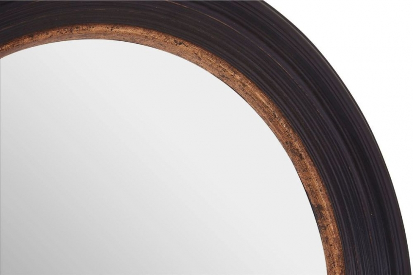 Gwen Black Round Wall Mirror