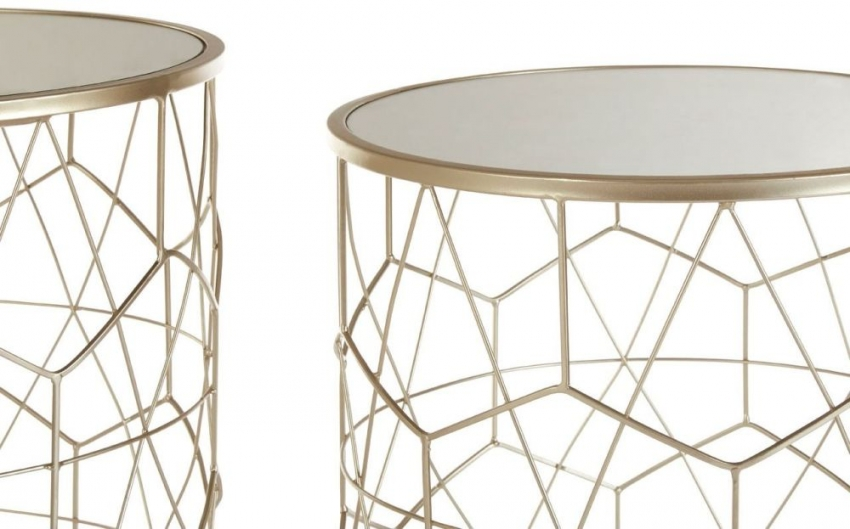 Arcana Champagne Metal and Mirrored Glass Round Side Table (Set of 2)