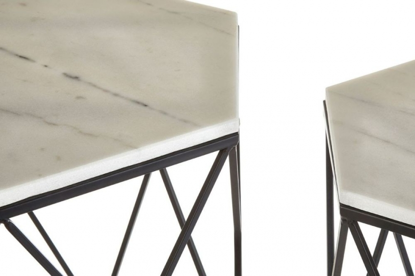 Arcana White Marble Black Steel Side Table