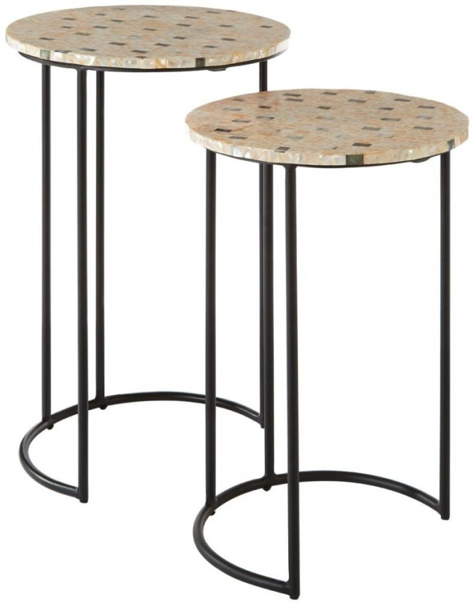 Halle Side Tables - Black Iron and Mother of Pearl