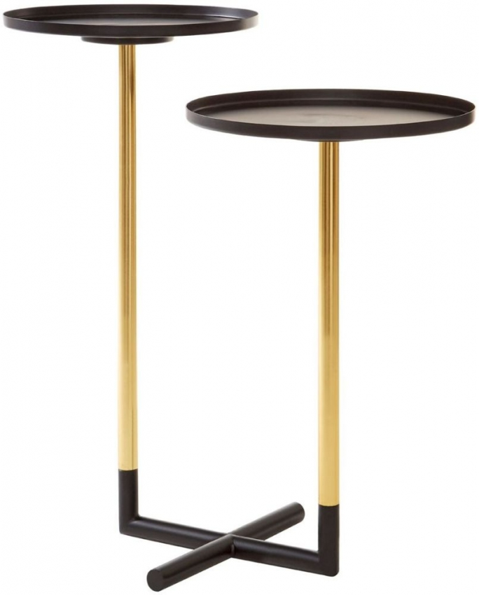 Halle Side Table - Warm Gold and Sleek Black