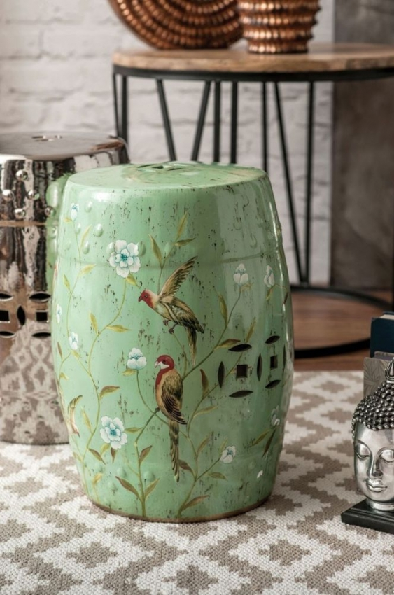 Complements Green Bird Print Side Table