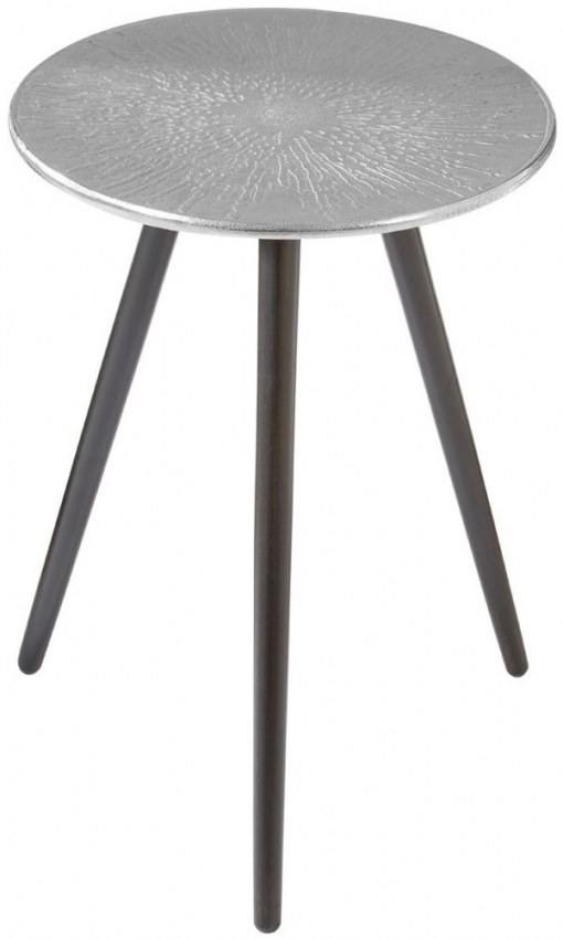 Halle Side Table - Silver and Black Wood