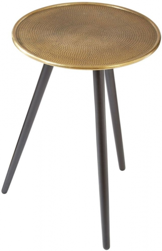 Halle Side Table - Gold and Black Wood