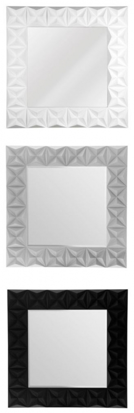 Black High Gloss 3D Effect Square Wall Mirror - 100cm x 100cm