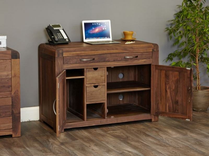 Buy Baumhaus Shiro Walnut Hidden Home Office Online Cfs Uk
