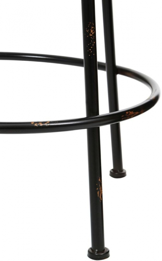 Artisan Black Round Bar Stool with Metal Frame