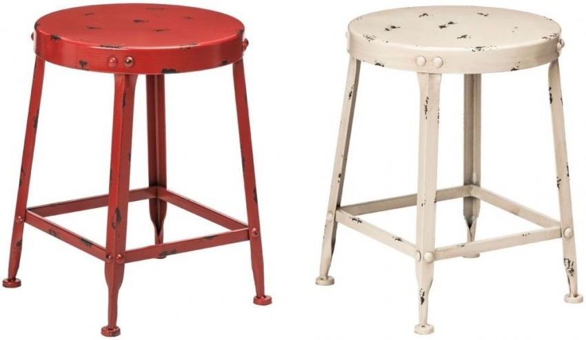 Artisan Red Metal Stool