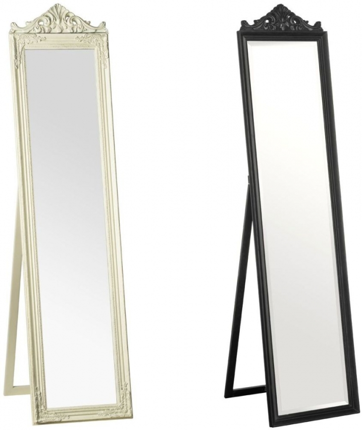 Boudoir Cream Rectangular Floor Standing Mirror - 40cm x 160cm