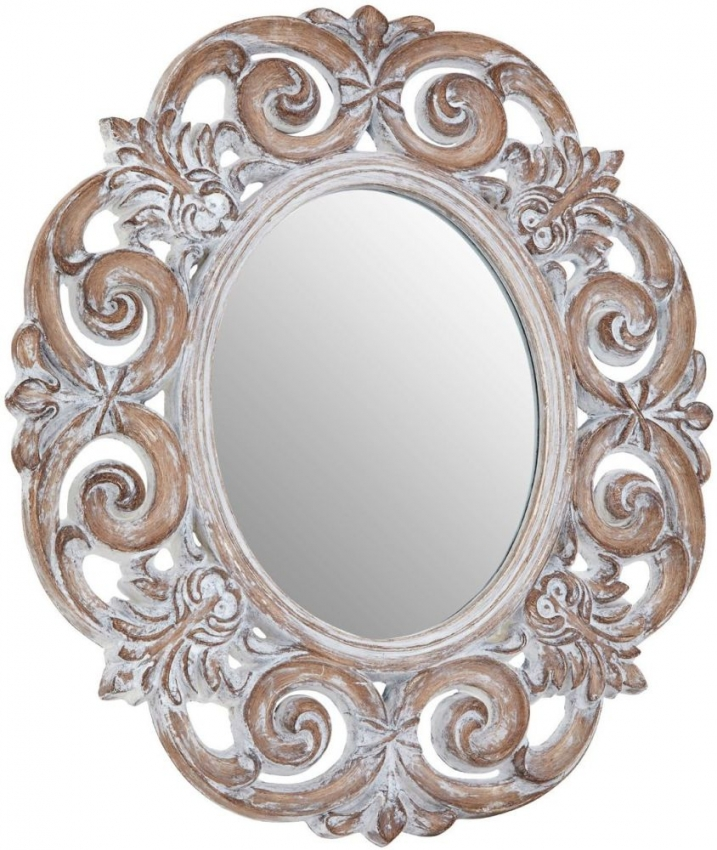 Antique White Scroll Design Oval Wall Mirror