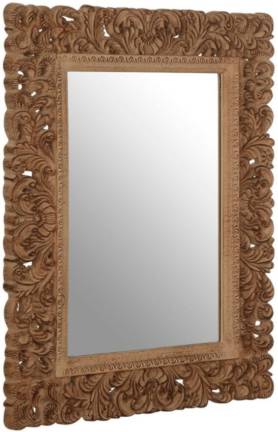 Antique Brown Rectangular Leaf Wall Mirror
