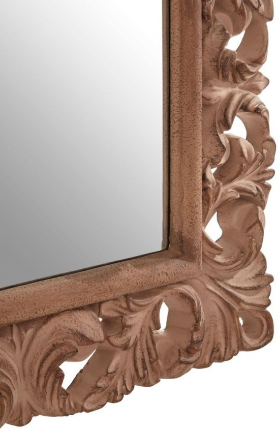 Antique Brown Arc Leaf Wall Mirror