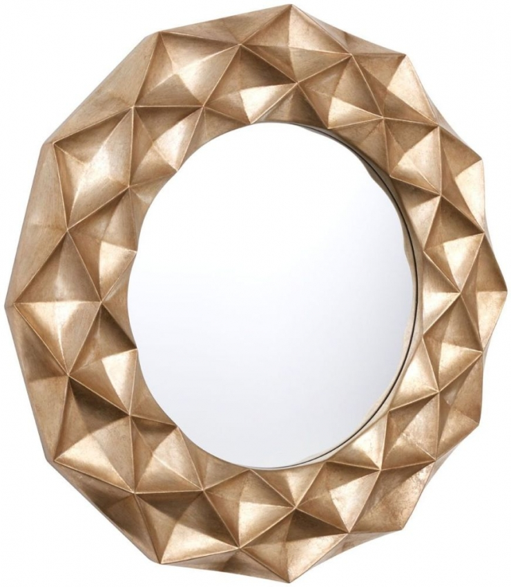 Hexa 3D Effect Champagne Round Wall Mirror