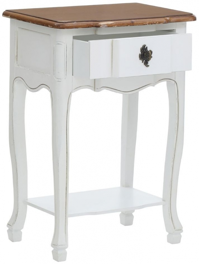 Serena Lamp Table - Chic White and Paulownia Wood