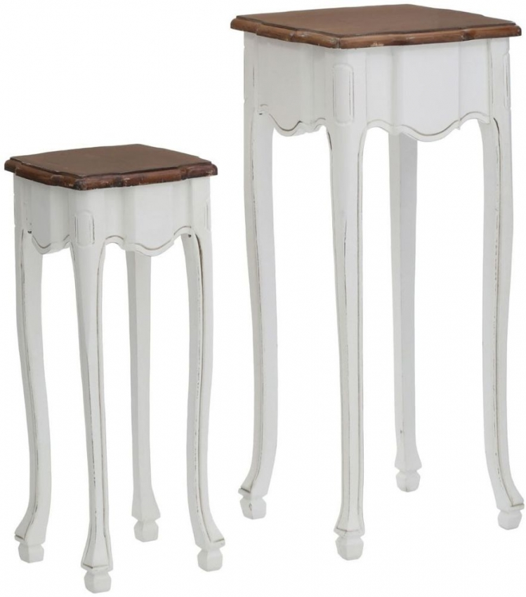 Serena End Tables (Set of 2) - Chic White and Paulownia Wood