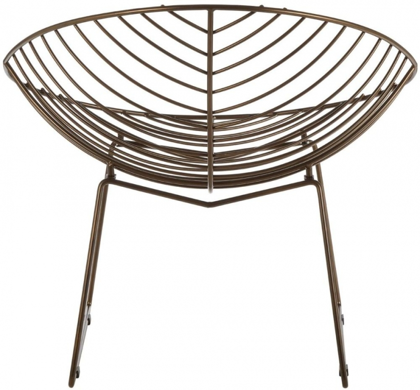 District Bronze Metal Wire Rounded Chair