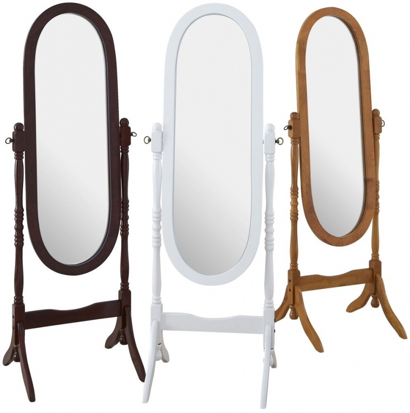 Dark Brown Oval Cheval Mirror