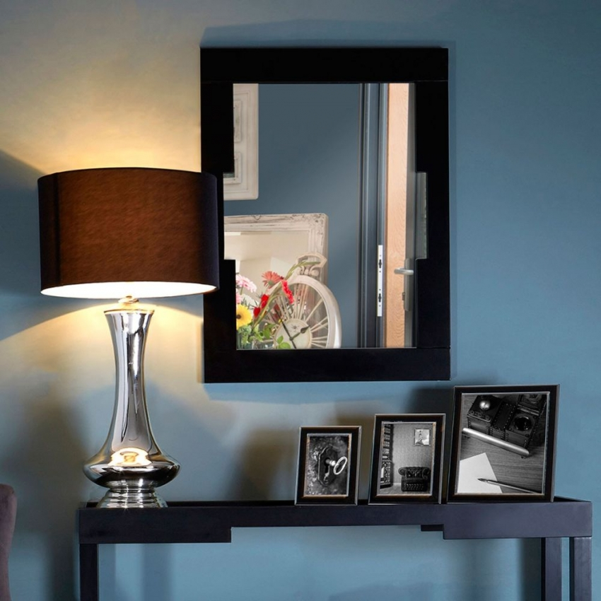 Osaka Black Rectangular Wall Mirror - 80cm x 60cm