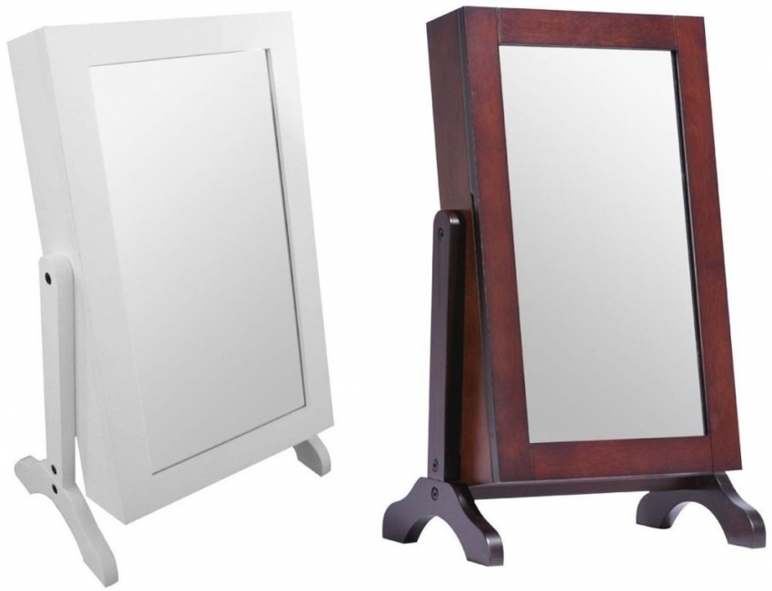 Table Top Brown Mirror Jewellery Cabinet