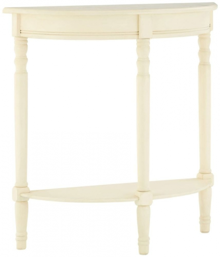 Heritage Antique White Half Moon Console Table