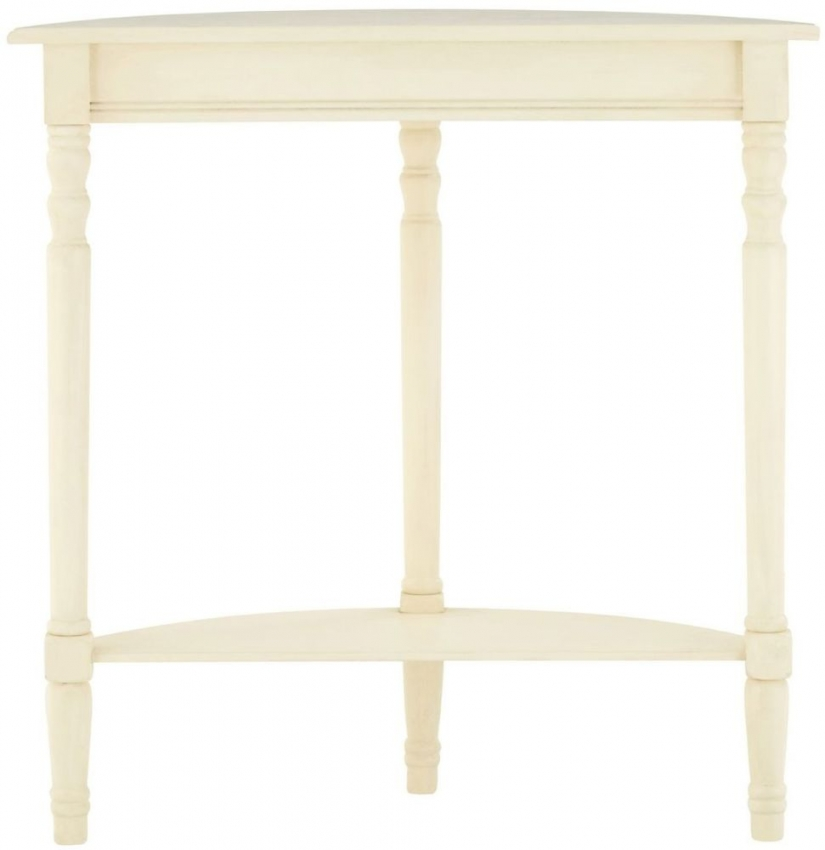 Heritage Antique White Half Moon Tall Console Table