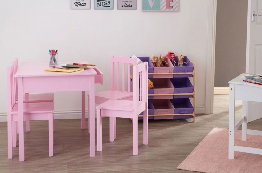 Kids Pink Dining Set with 4 Chairs - 90cm