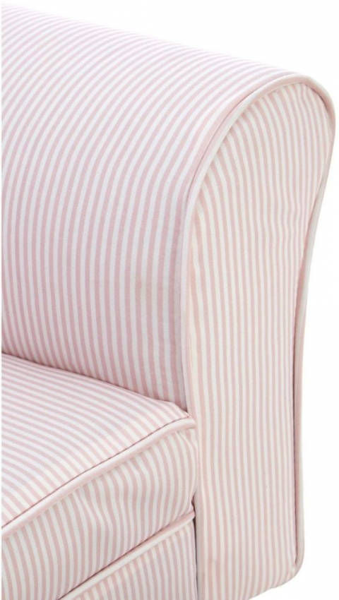 Kids Pink and White Stripe Rocker with Footstool