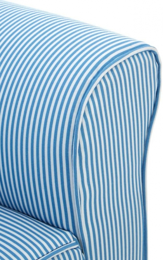 Kids Blue and White Stripe Rocker with Footstool