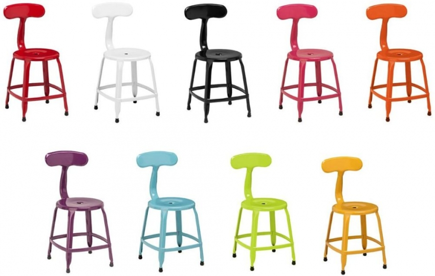 Disc Yellow Metal Dining Chair (Set of 4)