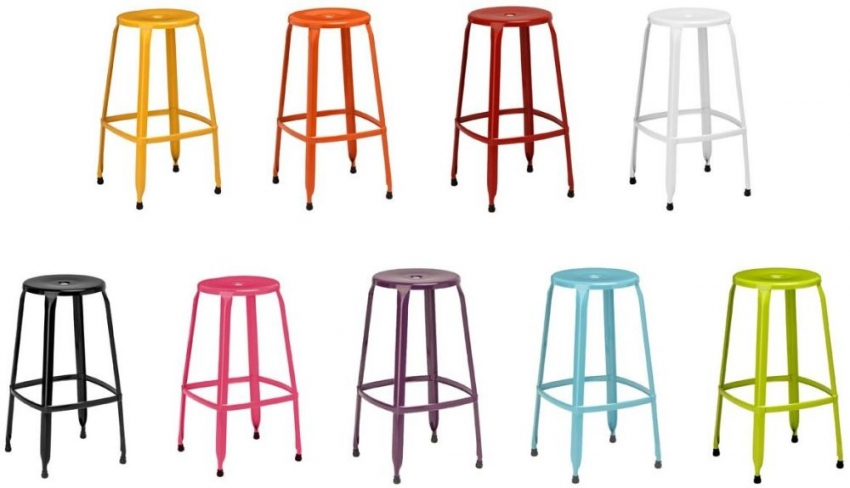 Blue Metal Disc Bar Stool (Set of 4)